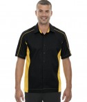 Ash City - North End Men's Tall Fuse Colorblock Twill Shirt Black/Campus Gold