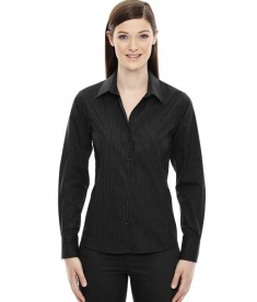 Ash City - North End Sport Blue Ladies' Boardwalk Wrinkle-Free Two-Ply 80's Cotton Striped Tape Shirt Black