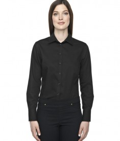 Ash City - North End Sport Blue Ladies' Boulevard Wrinkle-Free Two-Ply 80's Cotton Dobby Taped Shirt with Oxford Twill Black