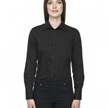 ash-city-north-end-sport-blue-ladies-boulevard-wrinkle-free-two-ply-80s-cotton-dobby-taped-shirt-with-oxford-twill-black