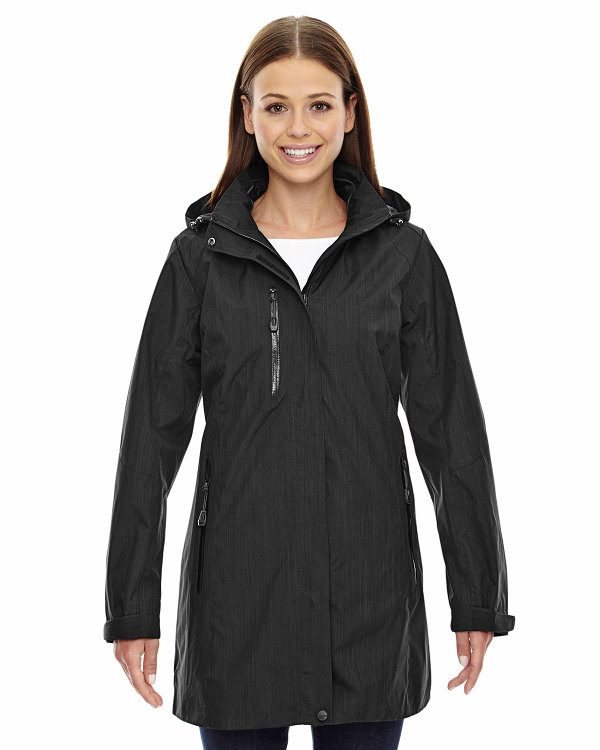 Ash City - North End Sport Blue Ladies' Metropolitan Lightweight City Length Jacket Black