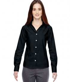Ash City - North End Sport Blue Ladies' Precise Wrinkle-Free Two-Ply 80's Cotton Dobby Taped Shirt Black
