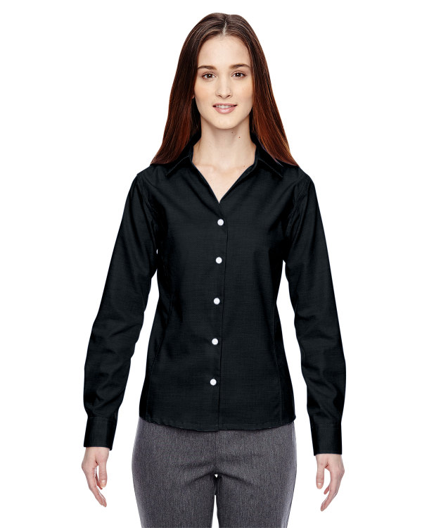 ash-city-north-end-sport-blue-ladies-precise-wrinkle-free-two-ply-80s-cotton-dobby-taped-shirt-black