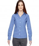 Ash City - North End Sport Blue Ladies' Precise Wrinkle-Free Two-Ply 80's Cotton Dobby Taped Shirt Ink Blue