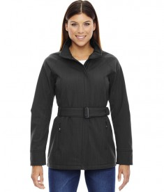 Ash City - North End Sport Blue Ladies' Skyscape Three-Layer Textured Two-Tone Soft Shell Jacket Carbon Heather