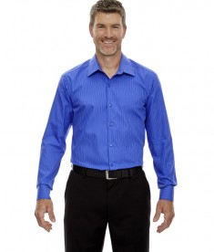Ash City - North End Sport Blue Men's Boardwalk Wrinkle-Free Two-Ply 80's Cotton Striped Tape Shirt Ink Blue