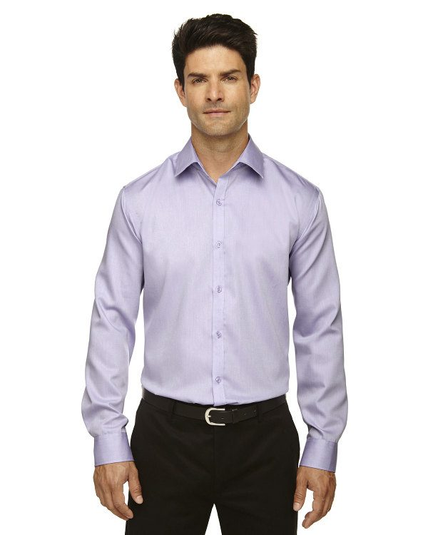 Ash City - North End Sport Blue Men's Boulevard Wrinkle-Free Two-Ply 80's Cotton Dobby Taped Shirt with Oxford Twill Orchid Purple