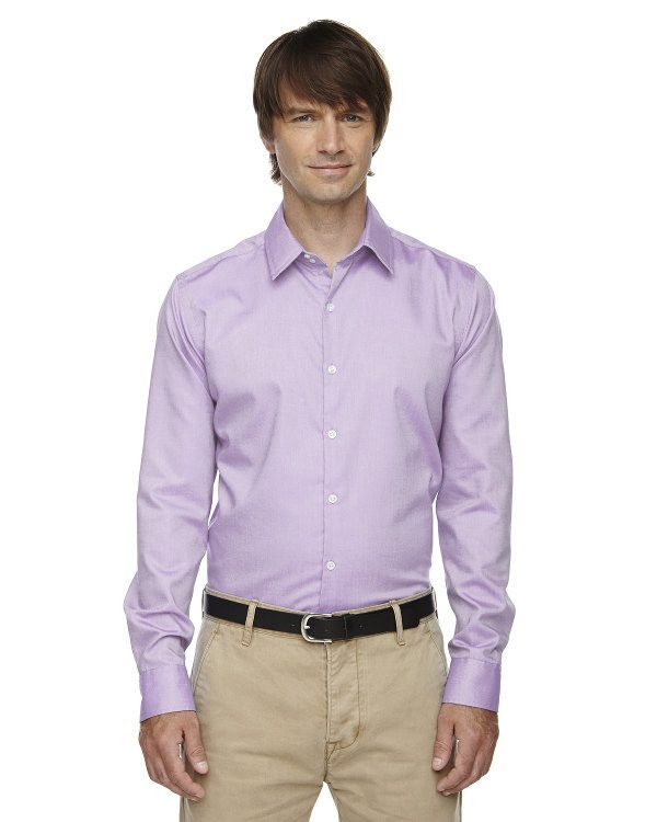 Ash City - North End Sport Blue Men's Refine Wrinkle-Free Two-Ply 80's Cotton Royal Oxford Dobby Taped Shirt Orchid Pink