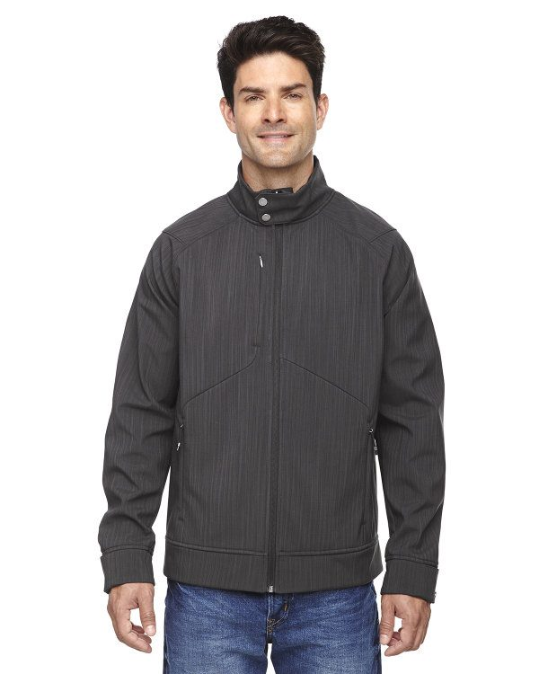 Ash City - North End Sport Blue Men's Skyscape Three-Layer Textured Two-Tone Soft Shell Jacket Carbon Heather