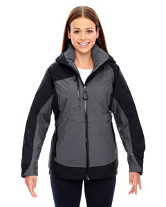 Ash City - North End Sport Red Ladies' Alta 3-in-1 Seam-Sealed Jacket with Insulated Liner Black Front