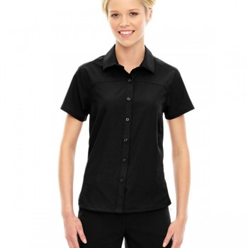 ash-city-north-end-sport-red-ladies-charge-recycled-polyester-performance-short-sleeve-shirt-black