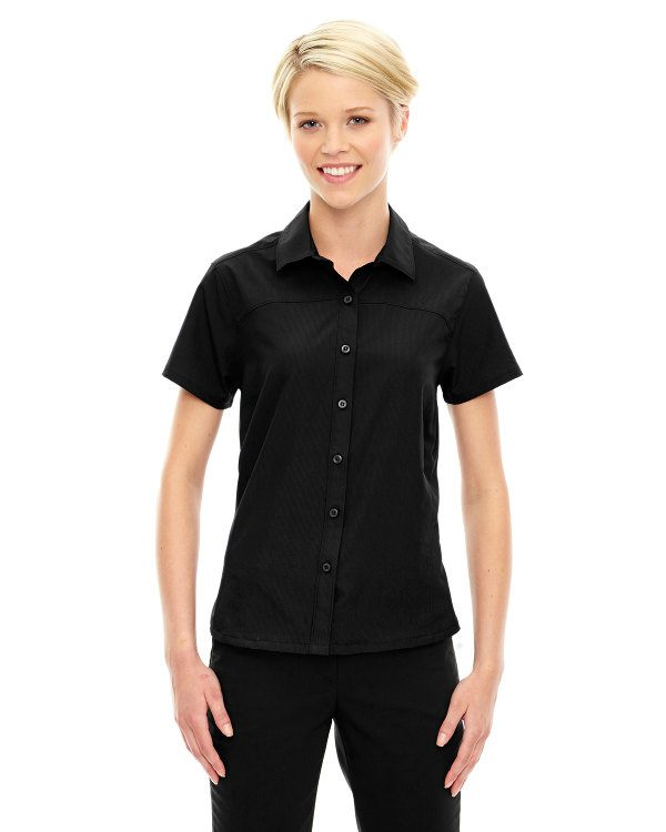 Ash City - North End Sport Red Ladies' Charge Recycled Polyester Performance Short-Sleeve Shirt Black