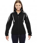 Ash City - North End Sport Red Ladies' Enzo Colorblocked Three-Layer Fleece Bonded Soft Shell Jacket Black
