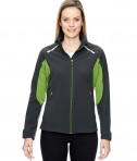 Ash City - North End Sport Red Ladies' Excursion Soft Shell Jacket with Laser Stitch Accents Carbon/ACD Green
