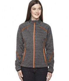Ash City - North End Sport Red Ladies' Flux Mélange Bonded Fleece Jacket Carbon/OR Soda