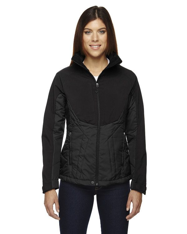 Ash City - North End Sport Red Ladies' Innovate Insulated Hybrid Soft Shell Jacket Black