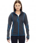 Ash City - North End Sport Red Ladies' Pulse Textured Bonded Fleece Jacket with Print Carbon Olympic Blue