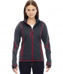 Ash City - North End Sport Red Ladies' Pulse Textured Bonded Fleece Jacket with Print Carbon Olympic Red