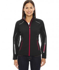 Ash City - North End Sport Red Ladies' Pursuit Three-Layer Light Bonded Hybrid Soft Shell Jacket with Laser Perforation BLK/OLYM Red