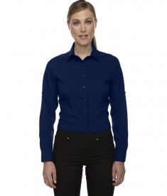 Ash City - North End Sport Red Ladies' Rejuvenate Performance Shirt with Roll-Up Sleeves Navy