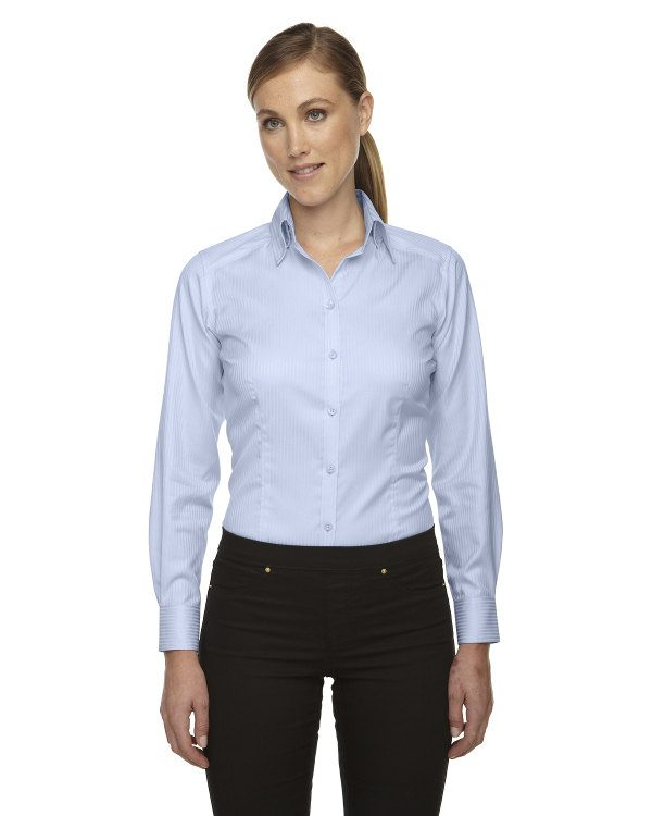 Ash City - North End Sport Red Ladies' Wrinkle-Free Two-Ply 80's Cotton Taped Stripe Jacquard Shirt Cool Blue