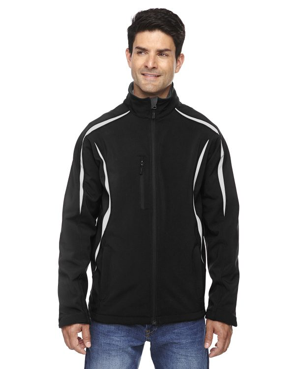 Ash City - North End Sport Red Men's Enzo Colorblocked Three-Layer Fleece Bonded Soft Shell Jacket Black