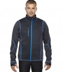 Ash City - North End Sport Red Men's Pulse Textured Bonded Fleece Jacket with Print Carbon/Olympic Blue