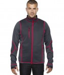 Ash City - North End Sport Red Men's Pulse Textured Bonded Fleece Jacket with Print Carbon/Olympic Red