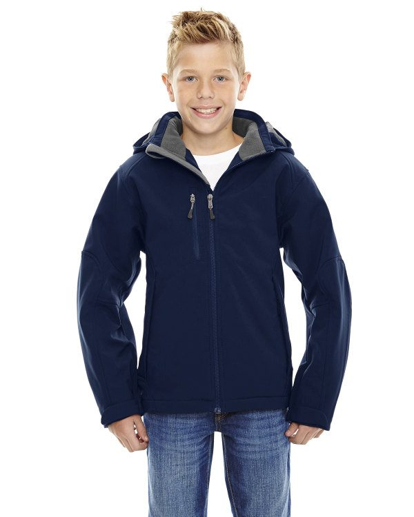 Ash City - North End Youth Glacier Insulated Three-Layer Fleece Bonded Soft Shell Jacket with Detachable Hood Classic Navy