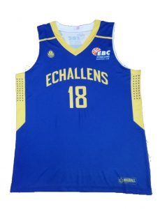 blue and yellow basketball jersey-front