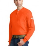 Bulwark EXCEL FR Long Sleeve Tagless Henley Orange Close Side View