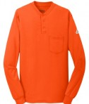 Bulwark EXCEL FR Long Sleeve Tagless Henley Orange FUll View