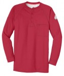 Bulwark iQ Long Sleeve Henley Red Flat Front