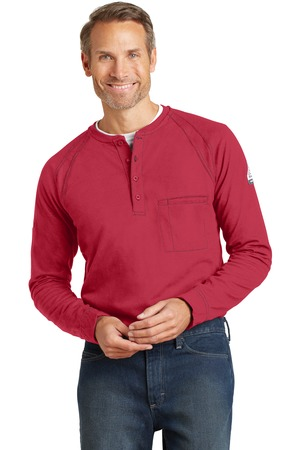 Bulwark iQ Long Sleeve Henley Red Front