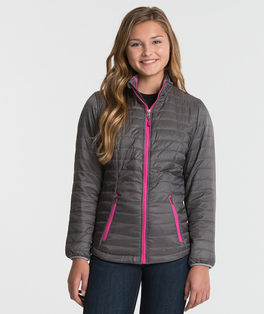 cahrles-river-apparel-5640-womens-lithium-quilted-jacket-grey-pink