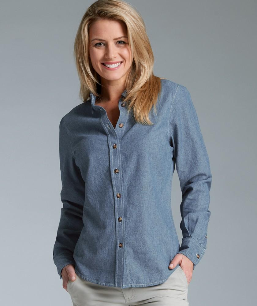 Charles River Apparel Style 2327 Women's Button Down Collar Chambray Shirt 1