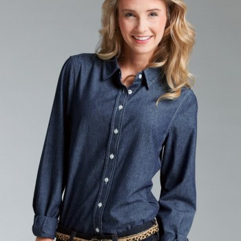 Charles River Apparel Style 2329 Women's Straight Collar Chambray Shirt 1