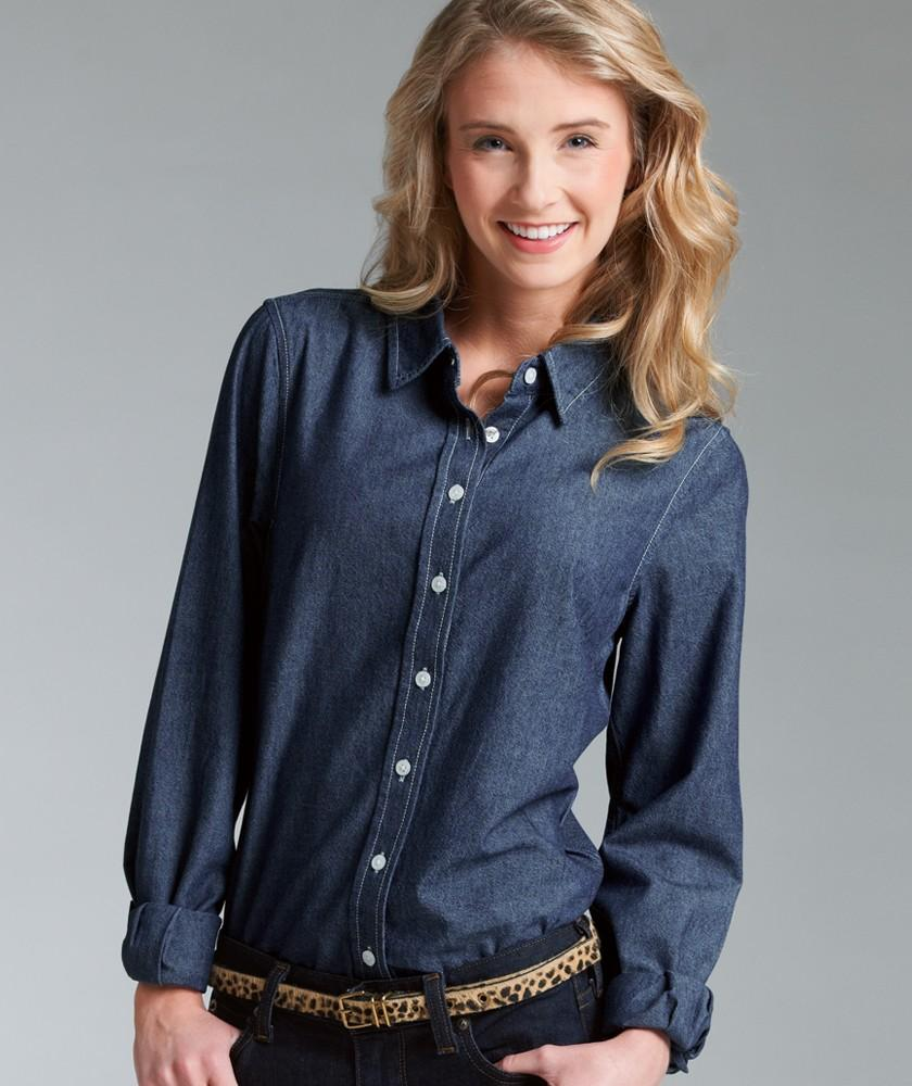 Charles river apparel style 2329 women 39 s straight collar for Chambray shirt women