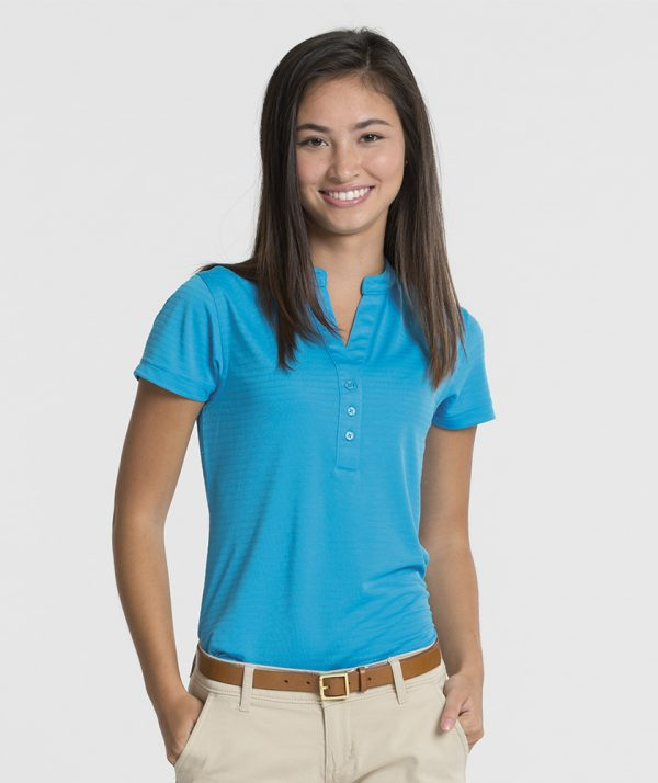 Charles River Apparel 2617 Women's Shadow Stripe Mandarin Collar Polo T-Shirt Ocean Blue