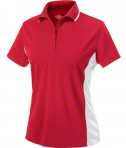 Charles River Apparel Style 2810 Women's Color Blocked Wicking Polo Red White