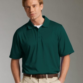 Charles River Apparel Style 3213 Men's Smooth Knit Solid Wicking Polo Forest Model