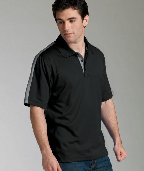 Charles River Apparel 3214 Mens Color Blocked Smooth Knit Wicking Polo Shirt Grey Black Grey Model
