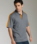 Charles River Apparel 3214 Mens Color Blocked Smooth Knit Wicking Polo Shirt Grey Orange Model