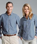 Charles River Apparel 3327 Mens Button Down Collar Chambray Blue Long Sleeve Shirt Matching His Hers