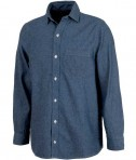 Charles River Apparel 3329 Indigo Blue Straight Collar Chambray Long Sleeve Shirt
