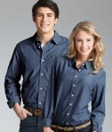 Charles River Apparel 3329 Indigo Blue Straight Collar Chambray Long Sleeve Shirt Matching His and Hers