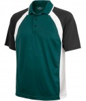 Charles River Apparel 3425 Mens Ares Button Up Polo Shirt Forest Black White