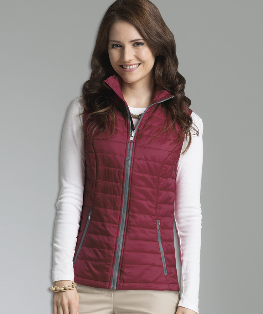 Charles River Apparel 5535 Women's Radius Quilted Vest Magenta Grey