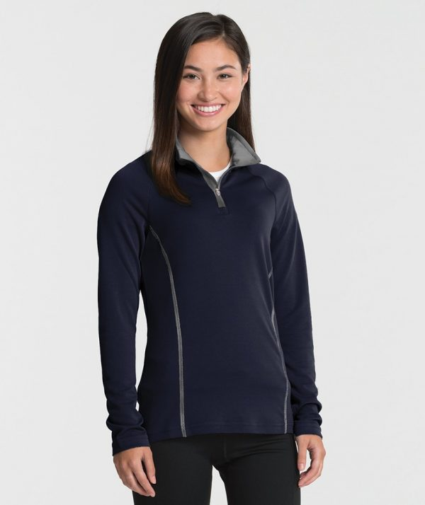 Charles River Apparel 5666 Women's Fusion Pullover Long Sleeve Top Navy Grey