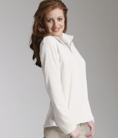 Charles River Apparel 5870 Women's Freeport Microfleece Pullover Sweater Dove White Model
